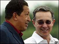 Venezuelan President Hugo Chavez and Colombian President Alvaro Uribe