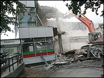 Main Pebble Mill building being torn down