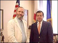 Santa Ana Mayor Miguel Pulido with Robin Lustig