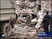Debris of the house razed in Makhachkala (Russian NTV channel)