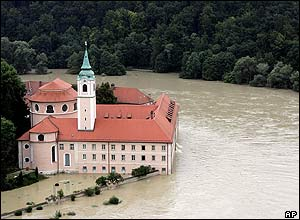 The swollen river Danube floods the compound of the Weltenburg monastery near Kelheim, southern Germany
