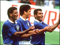 Mazinho, Bebeto and Romario with the Brazilian baby routine