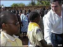 Gordon Brown with Tanzanian children