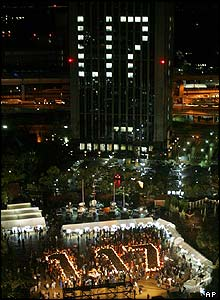Lights and candles in Kobe spell out the date of the quake: 17th January