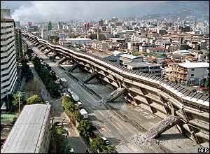 Collapsed highway in Kobe, 17 January 1995