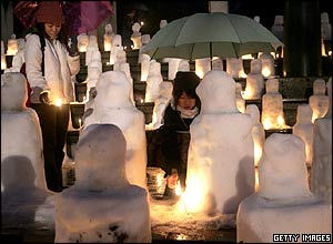 Snow child figures in a Kobe park