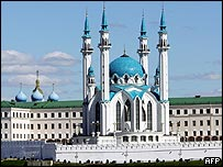 Kul Sharif mosque and Church of the Annunciation at the Kazan Kremlin in Tatarstan