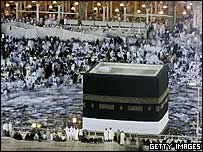Muslim pilgrims pray around holy Kaaba at Mecca's Great Mosque