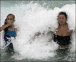 Turistas lituanas en Miami Beach.