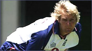 Matthew Hoggard bowls in an England net session