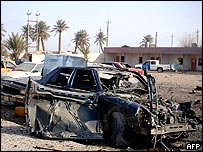 Bomb debris outside police station in Baiji, Iraq