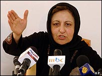 Iranian Nobel Peace Prize winner Shirin Ebadi speaks during her 17 January press conference in Tehran
