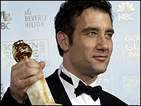 Clive Owen with his Golden Globe award