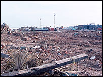 Scene of devastation left by tsunami in south east India