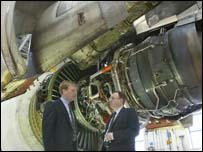 Andrew Davies is pictured in the massive engine test cell at the GE Wales facility with Managing Director Karl Fessenden