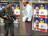 Posters hailing SLFP Prime Minister Mahinda Rajapakse as new president