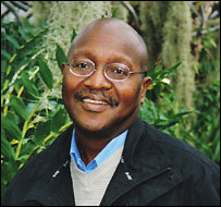 Dr John Lwanda in Glasgow's Botanical  Gardens