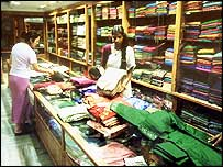 Inside of an India clothing store