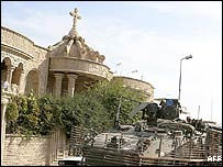 File photograph of a Catholic church in Mosul