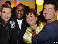 Gail Berman, Fox CEO (second right) with American Idol's Simon Cowell