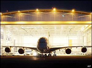 The A380 prototype in its hanger