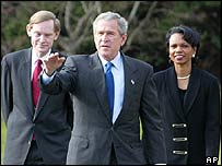Robert Zoellick, George W. Bush y Condoleezza Rice