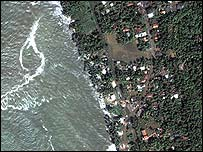 Satellite image of Kalutara on Sri Lanka's south-west coast