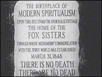 Stone marking the Fox sisters' home in Hydesville, New York State
