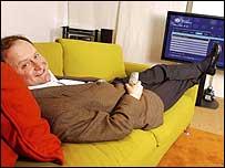 Eric Tveter on sofa