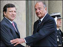 French President Jacques Chirac (right) greets European Commission President Jose Manuel Barroso at the Elysee Palace in Paris