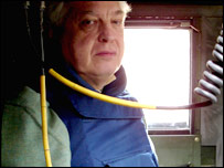 John Simpson in a vehicle in Iraq. Image by Mark McCauley