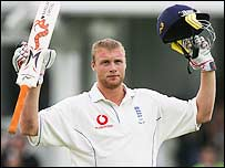 Andrew Flintoff acknowledges the cheers of the Trent Bridge crowd