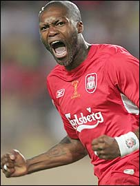 Djibril Cisse celebrates helping Liverpool beat CSKA Moscow