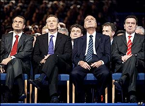 Spanish Prime Minister Jose Luis Zapatero, British Prime Minister Tony Blair, French President Jacques Chirac and German Chancellor Gerhard Schroeder  at the presentation ceremony in Toulouse