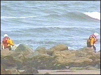 Picture of the search on the north Wales coast