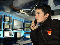 Ellen MacArthur on the B&Q Satellite phone