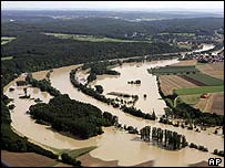 The swollen River Danube in southern Germany