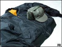 Hat and jacket worn by the man