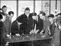 Peter Adolph playing Subbuteo with some boys and some QPR players - thanks to Tunbridge Wells Museum and Art Gallery