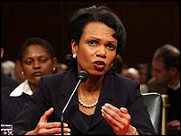 Condoleezza Rice at Tuesday's Senate hearing
