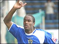 Cardiff striker Cameron Jerome celebrates his first goal against Wolves