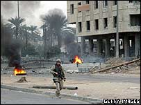 Scene of the blast near the Australian embassy in Baghdad
