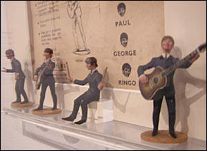 Beatles figures produced by Subbuteo in the 1960s - thanks to Tunbridge Wells Museum and Art Gallery