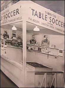 A Subbuteo stand at a games fair - thanks to Tunbridge Wells Museum and Art Gallery
