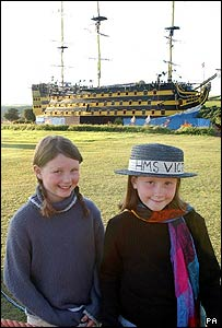 Katie (L) and Hattie Hill in front of the Torrington Victory