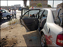 Car wrecked in the Beersheba explosion