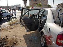 Car wrecked in the Beersheba explosion