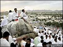Pilgrims gather for the high point of the Hajj pilgrimage at Mount Arafat