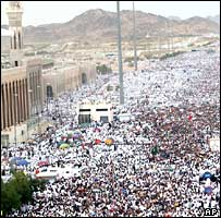 Up to two million pilgrims converge on Mount Arafat