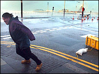 Tormenta en Blackpool, Reino Unido.